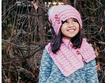 Crochet PATTERN Freya Slouchy Beanie and Matching Cowl | Child and Adult Size Crochet PATTERN | Button Braided Beanie and Cowl Set PDF File