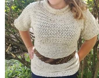Crochet PATTERN Women's Cowl Neck Sweater | Woman's Fall Fitted Sweater Crochet Pattern | Autumn Winter Crochet Pattern | Ladies Pullover