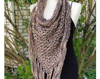 Crochet PATTERN Boho Cowl Neck Triangle Fringe Scarf | Desert Winds Scarf Pattern | Easy Crochet Pattern | Autumn Fall Crochet Pattern PDF