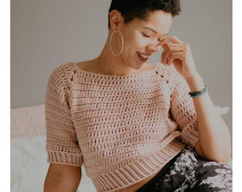 Crochet PATTERN The Rowan Sweater | Crochet Cropped Sweater Pattern | Woman's Fall Crochet Pattern | PDF Digital Download