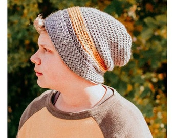 Crochet PATTERN | Men's Hat Crochet Pattern | Boy's Hat Crochet Pattern | Crochet Pattern for Men | Knittish Slouch Beanie PDF Pattern