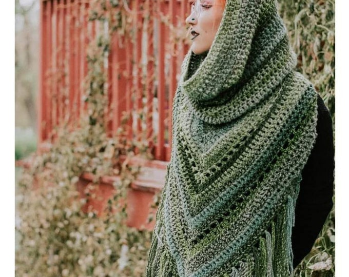 Featured listing image: Crochet PATTERN Boho Hooded Scarf | Hooded Triangle Scarf Crochet Pattern | Boho Fringe Scarf Pattern | Wanderlust Hooded Scarf Pattern