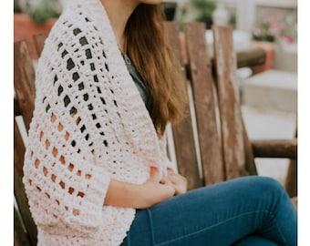 Crochet PATTERN | The Verona Shrug | Velvet Cocoon Sweater Crochet  PATTERN | Women's Velvet Blanket Cardigan Pattern | PDF Digital Download