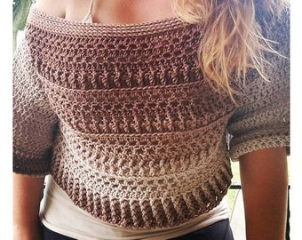 Fall Slouchy Sweater Crochet PATTERN | Women's Off The Shoulder Crop Sweater Pattern | Felicity Sweater Pattern | PDF Digital Download