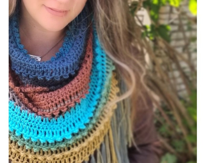 Featured listing image: Crochet PATTERN | Woods n Wander Cowl | Fringed Cowl Pattern | Woman's Cowl Crochet Pattern | Textured Mandala Cowl Crochet Pattern PDF