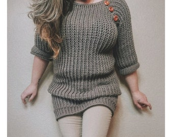 Crochet PATTERN | Morrigan Sweater Pattern | Women's Ribbed Sweater Dress Crochet Pattern | Woman's Spring, Fall, Winter Sweater Pattern
