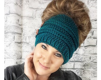 Crochet Pattern Messy Bun Beanie | Crochet Pattern Bun Hat | Top Knot Beanie Crochet Pattern | Crochet Pattern Top Knot Hat | PDF Download