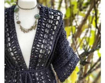 Crochet PATTERN   Jasmine Kimono Crochet Pattern   Women's Robe Pattern   Ladies Coverup Crochet Pattern   Crochet for Her   PDF Download
