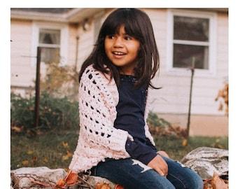 Crochet PATTERN | The Verona Shrug | Velvet Cocoon Sweater Crochet PATTERN | Kids' Velvet Blanket Cardigan Pattern | PDF Digital Download