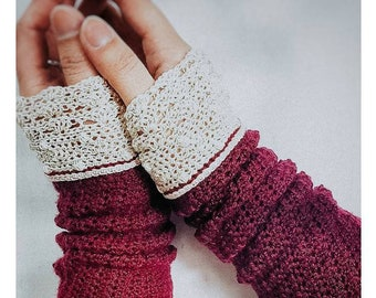 Crochet Pattern | Lacey Wrist Warmers Pattern | Crochet Pattern Lace Wrist Warmers | DIY Crochet Written Intructions | Wrist Warmer Pattern