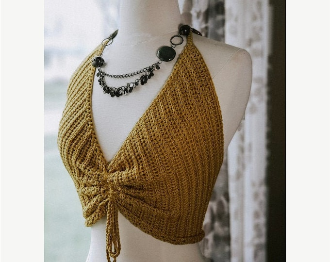 Featured listing image: Chloe Crop Top PATTERN | Summer Drawstring Crop Top Pattern | DIY Summer Halter Festival Top Crochet Pattern | PDF Digital Download
