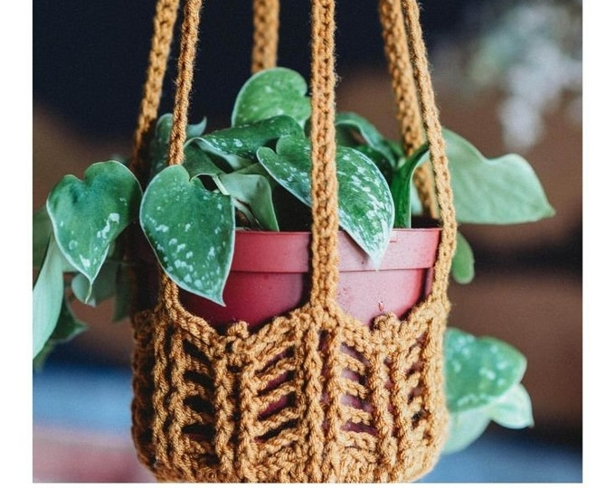 Featured listing image: Crochet PATTERN Hanging Plant Holder | Boho Plant Hanger Crochet Pattern | DIY Crochet Hanging Plant Holder | PDF Digital Download