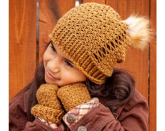 Fall Crochet Pattern | Geneva Slouch Beanie and Matching Fingerless Gloves Crochet Pattern for Toddler, Child, and Adult | PDF Download