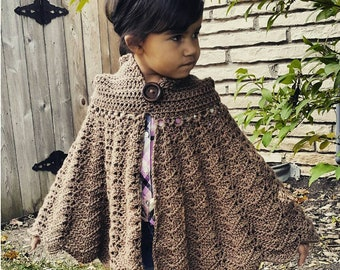 Easy Crochet PATTERN | Hooded Cape | CHILD Size Cloak Pattern | Red Riding Hood Crochet Pattern | PDF Digitial Download