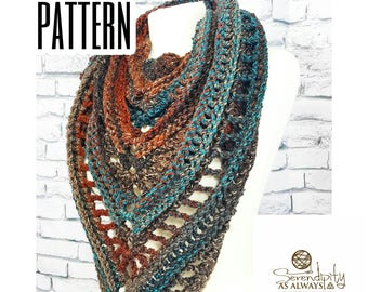 Crochet PATTERN | Boho Triangle Scarf Written Pattern | Boho Soul Scarf Pattern | Autumn Fall Scarf Corchet Instructions | Triangle Scarf