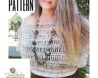 Crochet PATTERN Women's Off The Shoulder Crop Top   Boho Summer Crop Top Crochet Pattern   Crochet Womans Slouchy Top   PDF Digital Download