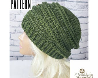 Crochet PATTERN | Ribbed Slouchy Beanie Crochet Pattern | Slouch Hat Crochet Pattern | Fall Autumn Winter Crochet Beanie Pattern | PDF