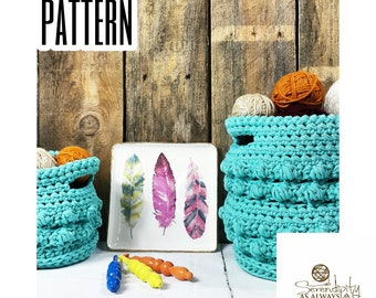 Crochet PATTERN | Basket Set Pattern | Home Decor Crochet Pattern | Bippity Boppity Basket Duo Crochet Pattern | PDF Digital Download