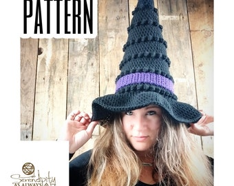 Crochet PATTERN | Witch Hat Crochet Pattern | Crochet Pattern Witches Hat | Halloween Crochet Pattern | Kid's and Adult's Witch Hat Pattern