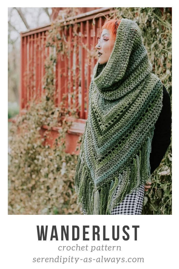 Crochet Pattern Boho Hooded Scarf Hooded Triangle Scarf Crochet