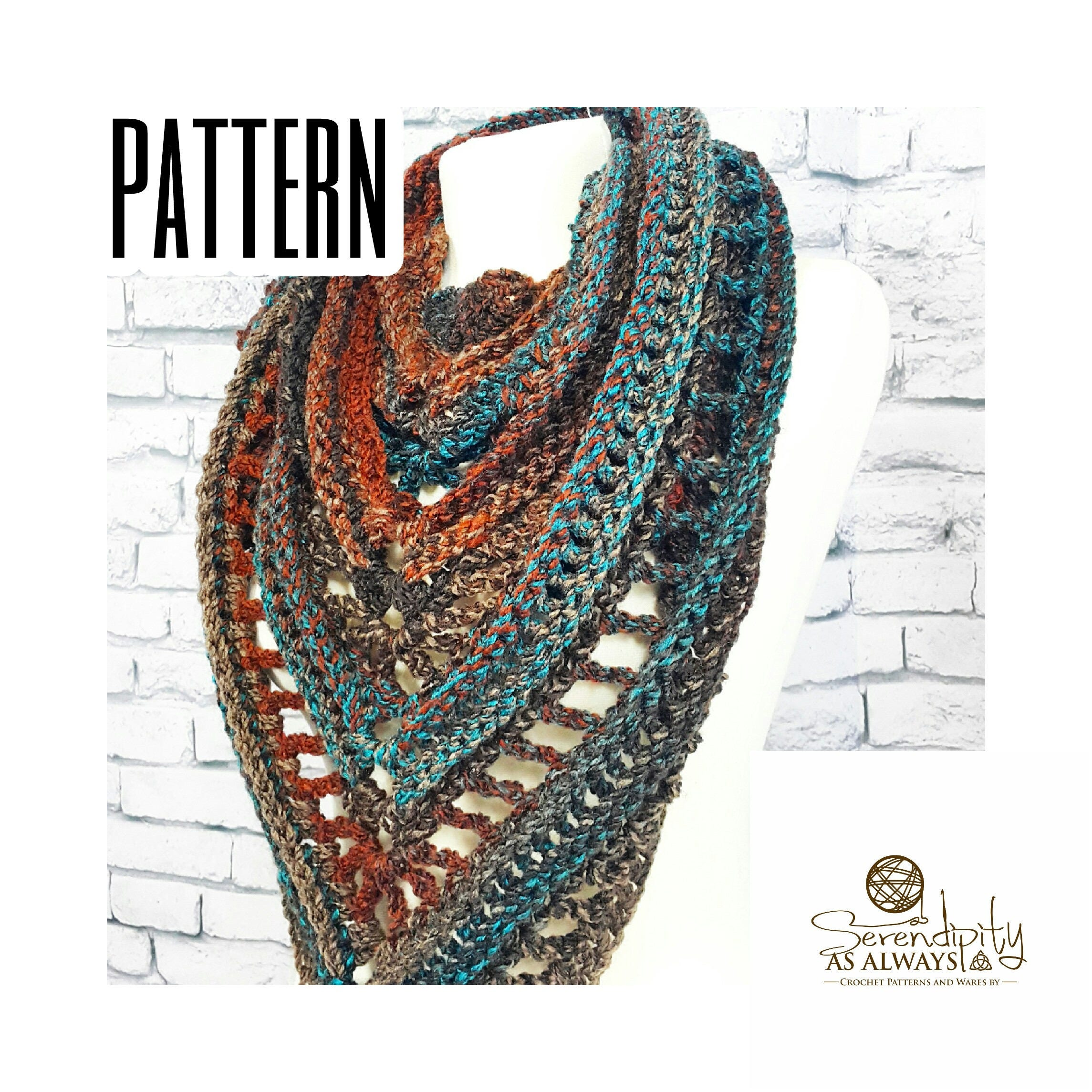 Crochet Pattern Boho Triangle Scarf Written Pattern Boho Soul