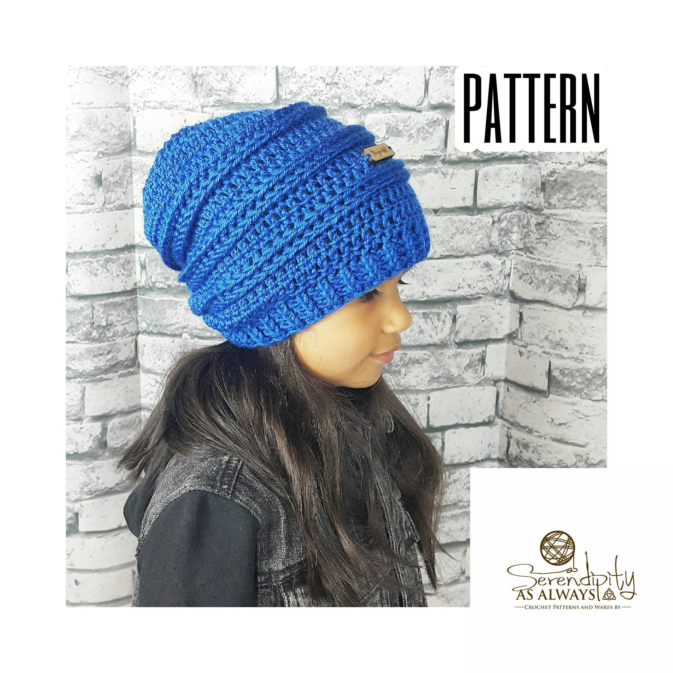 Crochet PATTERN Ribbed Slouchy Beanie Crochet Pattern