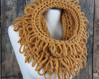 Fun Textured Cowl   Gift for Her   Loops and Fringe Cowl   Mustard Cowl Scarf for Women   Ready to Ship   Yellow Cowl   Free US Shipping