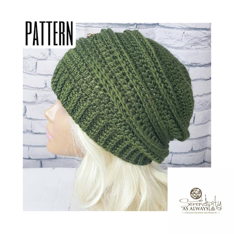 138725eabc8 Crochet PATTERN Ribbed Slouchy Beanie Crochet Pattern