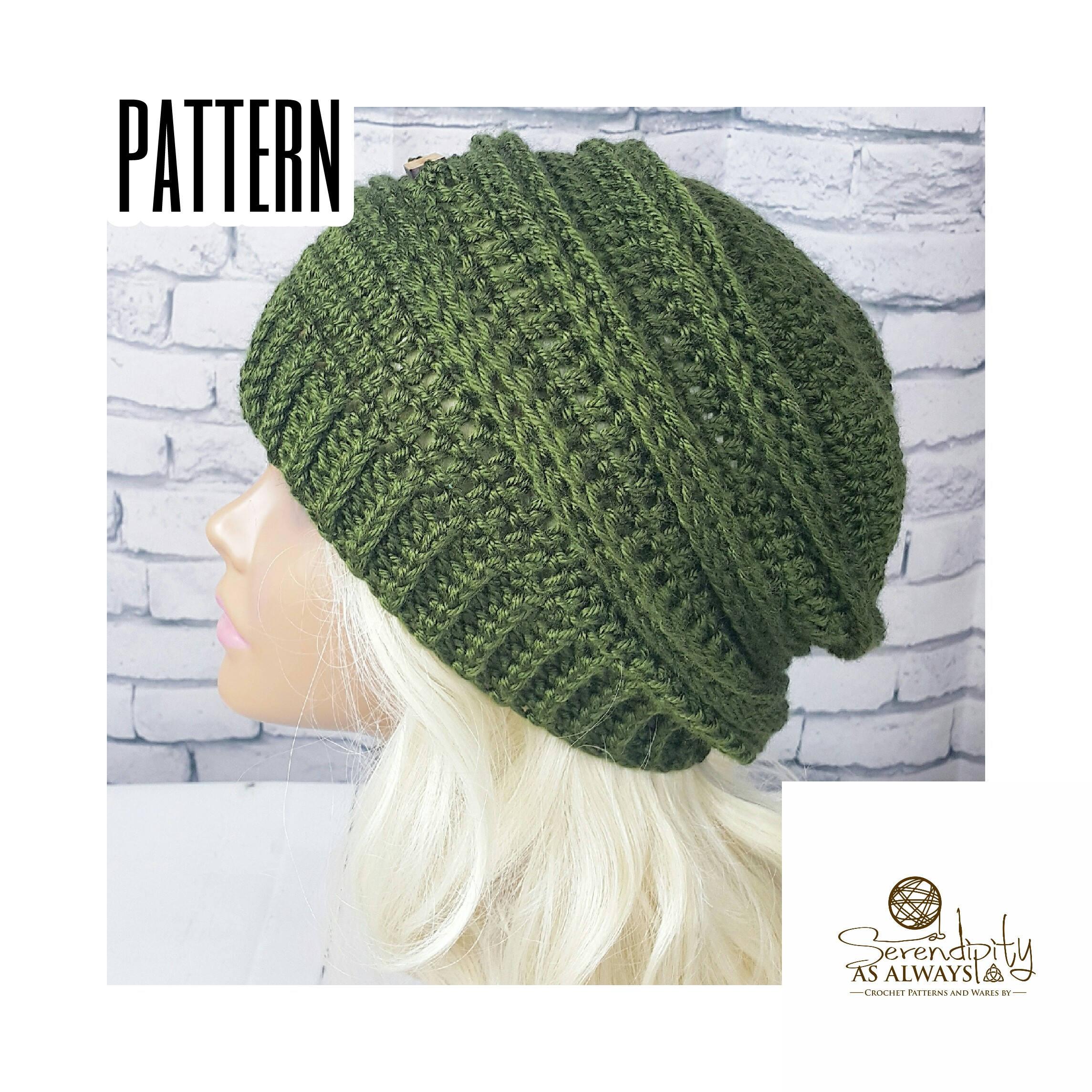 Crochet Pattern Ribbed Slouchy Beanie Crochet Pattern Etsy