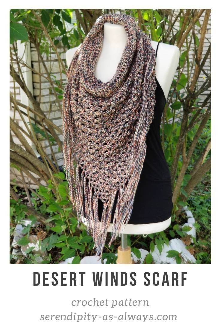 Crochet Pattern Boho Cowl Neck Triangle Fringe Scarf Desert Winds