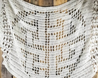 Off White Celtic Wedding Shawl   Ready to Ship Crocheted Celtic Shawl   Irish Bride Shawl   Celtic Knot Wedding Wrap