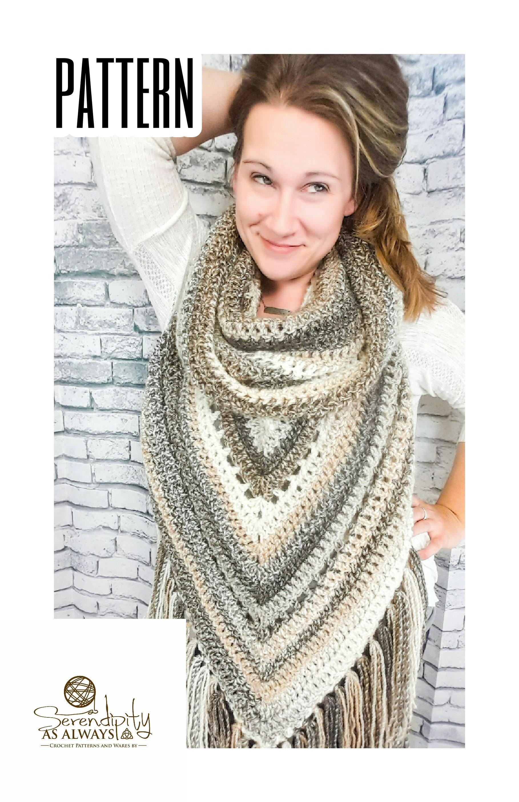 Crochet PATTERN Boho Hooded Scarf   Hooded Triangle Scarf Crochet ...