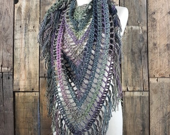 Boho Fringe Scarf   Light Weight Spring Scarf   Ready To Ship   Echo Color Scarf   Ladies Triangle Shawl   Womens  Bohemain Scarf