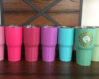 Monogrammed Powdercoated Stay Cold Stainless Steel Tumbler - 30oz. - Your choice of design/color/pattern - choose any design in the shop!