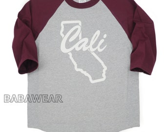 California Republic Bear Baseball Raglan T-Shirt Cali Map Burgundy