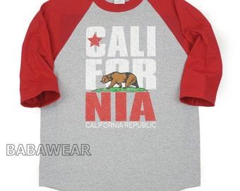 California Republic Bear Baseball Raglan T-Shirt Heather Gray / Red
