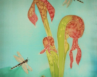 Hand-painted Silk Wall Hanging 16x20 - Darlingtonia with Dragonflies