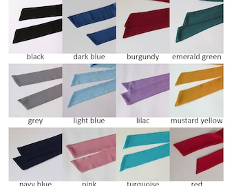 Skinny Scarf, Choose Color & Size, Crepe Chiffon, Long Thin Scarf with Angled Ends, Narrow Scarf, Neck Tie, Choker, Womens Fashion, For Her