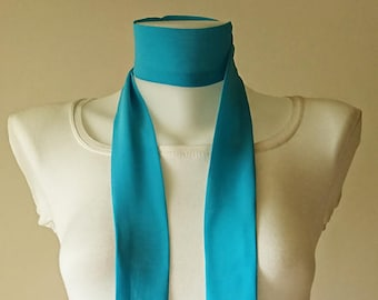 """Turquoise Skinny Scarf, 80""""x2"""", Long Thin Scarf with Angled Ends, Crepe Chiffon Bow Tie, Narrow Scarf, Neck Tie, Fashion Accessories"""