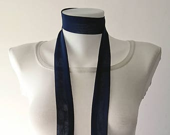 """Navy Blue Skinny Scarf, 63""""x1.5"""", Long Thin Scarf with Angled Ends, Crepe Chiffon Bow Tie, Choker Scarf, Neck Tie, Narrow Scarf, For Her"""