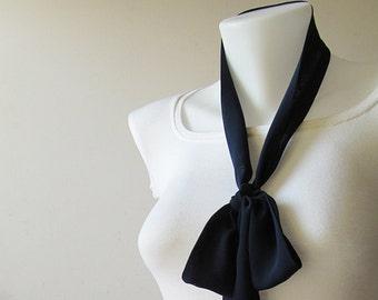 "Navy Blue Skinny Scarf, 80""x2"", Long Thin Scarf with Angled Ends, Crepe Chiffon Bow Tie, Narrow Scarf, Neck Tie, Choker Scarf, Headband"
