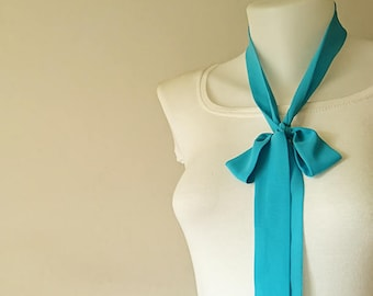 """Turquoise Skinny Scarf, 63""""x1.5"""", Long Thin Scarf with Angled Ends, Crepe Chiffon Bow Tie, Choker Scarf, Neck Tie, Narrow Scarf, For Her"""