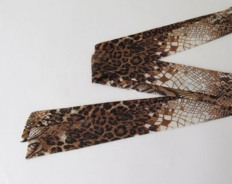 """Brown Snake Skin Pattern Skinny Scarf, 80""""x2"""", Long Thin Scarf with Angled Ends, Chiffon Neck Tie, Headband, Spring Summer Fashion, For Her"""
