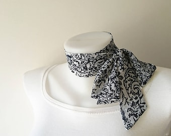 """Navy Blue White Skinny Scarf, 57""""x2"""",Floral Skinny Tie, Long Thin Scarf with Angled Ends, Chiffon, Neck Tie, Headband, Spring Summer Fashion"""