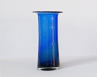 Crystalex handmade Bohemian vase in deep blue with green.