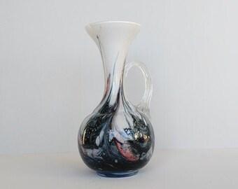 Florence schenkkan opaline glas in roze, blauw en wit.