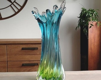 Egermann vase in a color combination of light blue and mint green crystal glass.