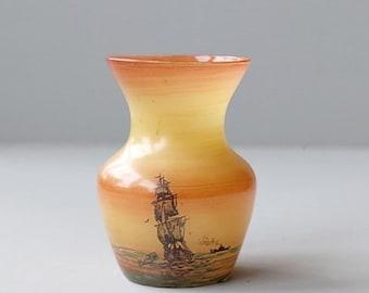 Vaasje naar ontwerp van Henri Martin voor Scailmont glasfabriek, 1935 Belgische glas.