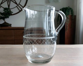 Clear transparent water jug, pontil marked, cut decoration, diamonds and rings