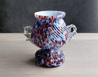 Franz Welz glass trophy vase with crystal handles